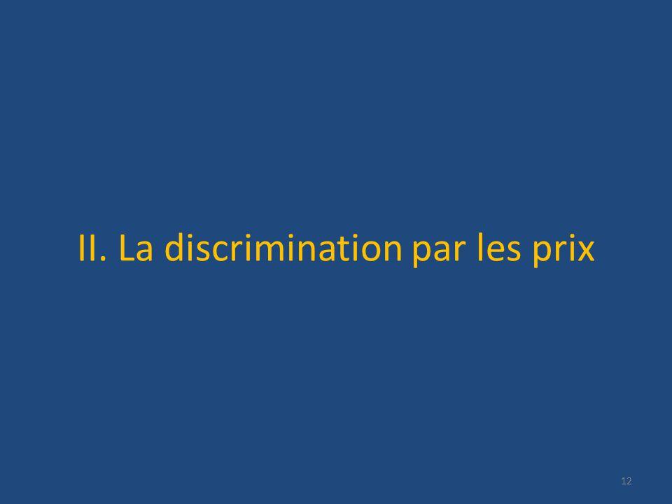 II. La discrimination par les prix 12