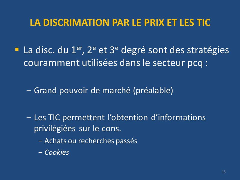 13 LA DISCRIMATION PAR LE PRIX ET LES TIC La disc.