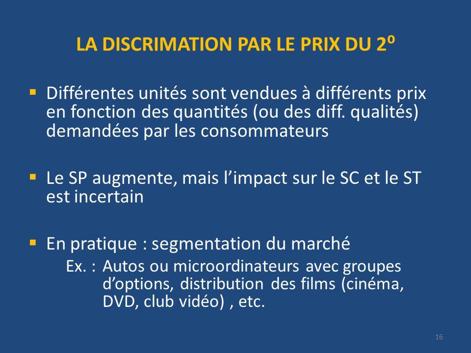 16 LA DISCRIMATION PAR LE PRIX DU 2 Différentes unités sont vendues à différents prix en fonction des quantités (ou des diff.