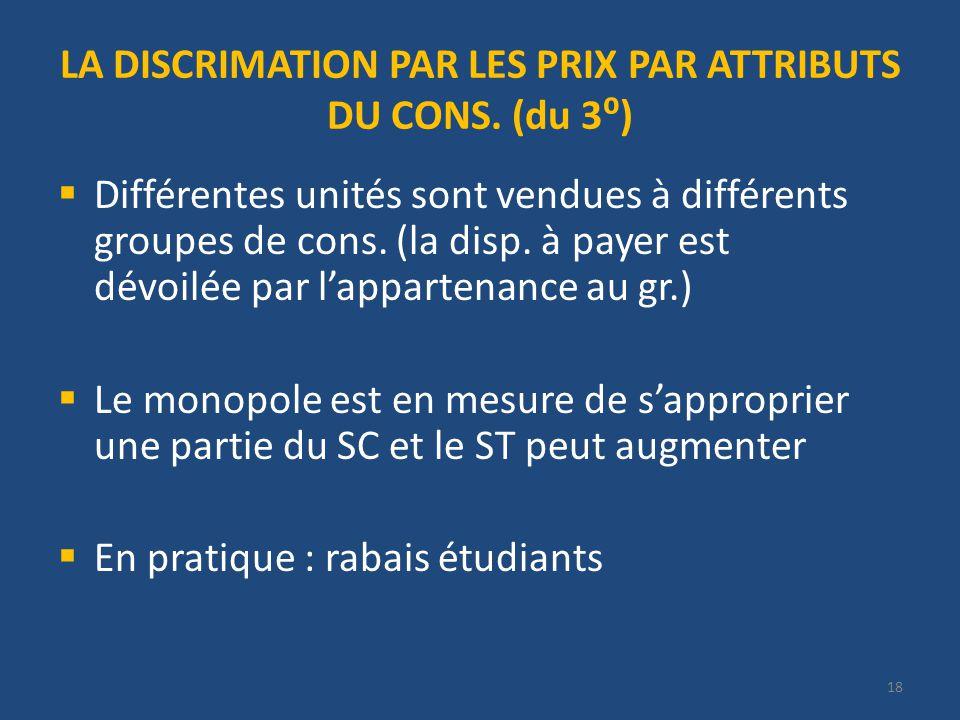 18 LA DISCRIMATION PAR LES PRIX PAR ATTRIBUTS DU CONS.