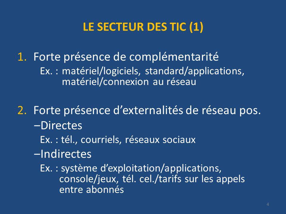 4 LE SECTEUR DES TIC (1) 1.Forte présence de complémentarité Ex.