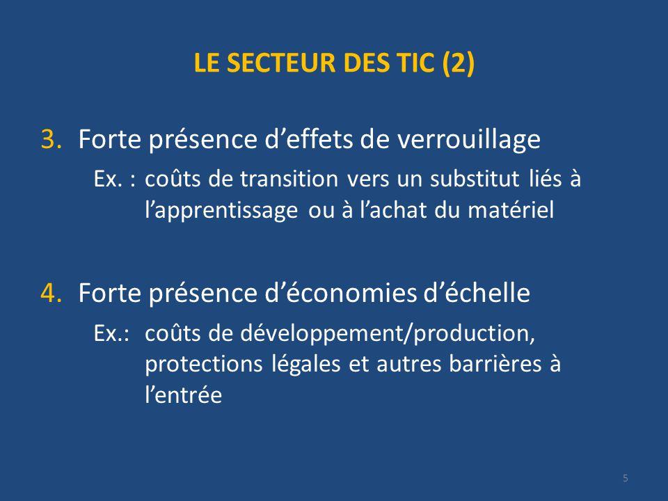 5 LE SECTEUR DES TIC (2) 3.Forte présence deffets de verrouillage Ex.