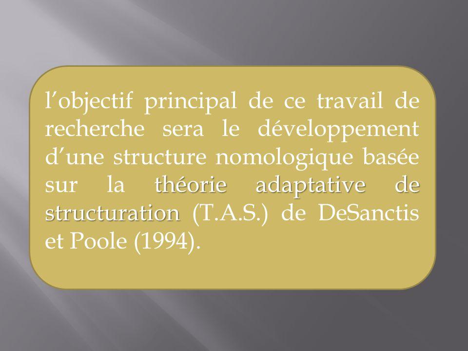 théorie adaptative de structuration lobjectif principal de ce travail de recherche sera le développement dune structure nomologique basée sur la théor