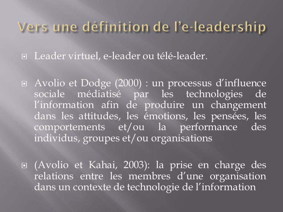 Leader virtuel, e-leader ou télé-leader. Avolio et Dodge (2000) : un processus dinfluence sociale médiatisé par les technologies de linformation afin
