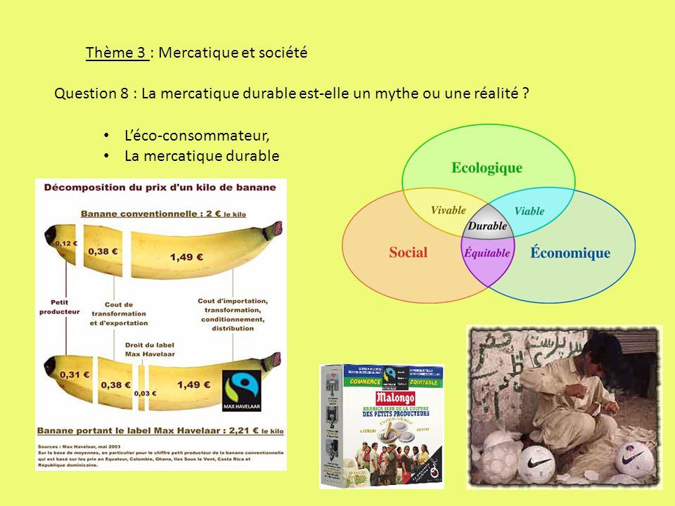 Thème 3 : Mercatique et société Question 8 : La mercatique durable est-elle un mythe ou une réalité .