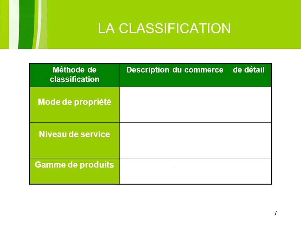 7 LA CLASSIFICATION Méthode de classification Description du commerce de détail Mode de propriété Détaillant indépendant Entreprises à succursales Sys