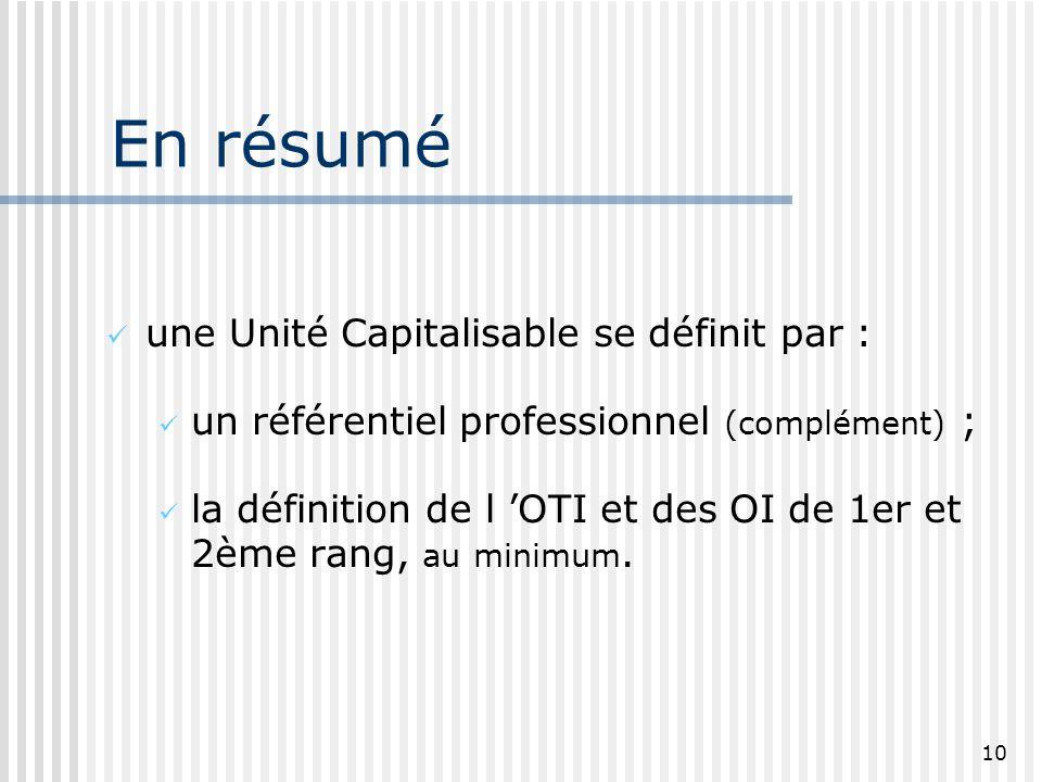 10 En résumé une Unité Capitalisable se définit par : un référentiel professionnel (complément) ; la définition de l OTI et des OI de 1er et 2ème rang