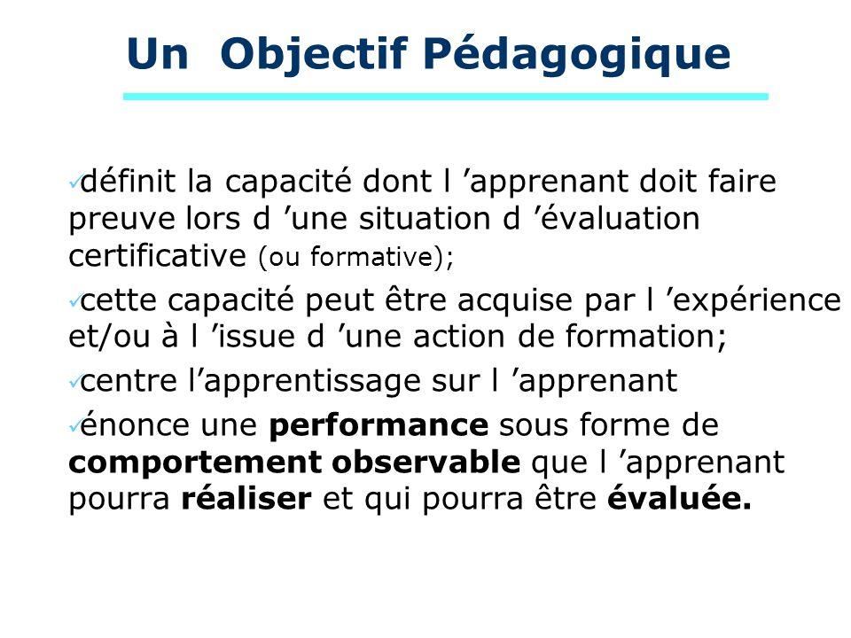 Un Objectif Pédagogique définit la capacité dont l apprenant doit faire preuve lors d une situation d évaluation certificative (ou formative); cette c