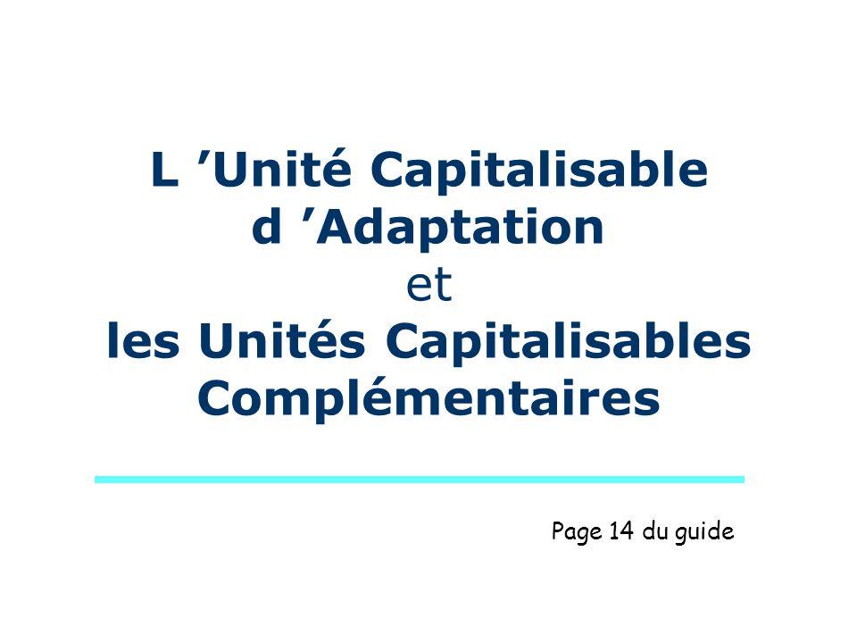 L Unité capitalisable dadaptation Permet l adaptation locale de la formation : - au secteur professionnel (adaptation à une technique, une formation, un milieu, …); - et à l emploi (projet individuel, contexte local ou régional).