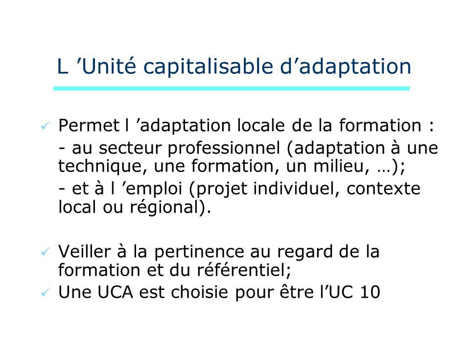 L Unité capitalisable dadaptation Permet l adaptation locale de la formation : - au secteur professionnel (adaptation à une technique, une formation,