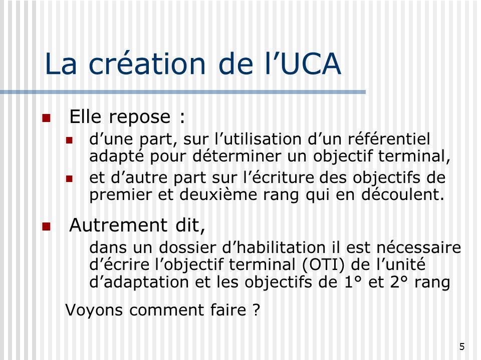 5 La création de lUCA Elle repose : dune part, sur lutilisation dun référentiel adapté pour déterminer un objectif terminal, et dautre part sur lécrit