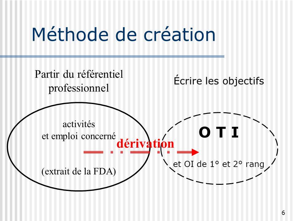 6 Méthode de création Écrire les objectifs O T I et OI de 1° et 2° rang Partir du référentiel professionnel activités et emploi concerné (extrait de l