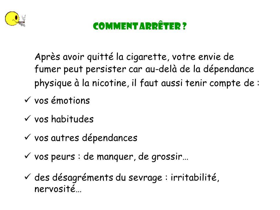 Après avoir quitté la cigarette, votre envie de fumer peut persister car au-delà de la dépendance physique à la nicotine, il faut aussi tenir compte de : Comment arrêter .
