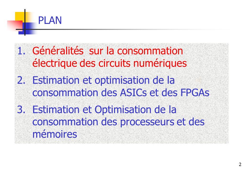 2 PLAN 1.Généralités sur la consommation électrique des circuits numériques 2.Estimation et optimisation de la consommation des ASICs et des FPGAs 3.E
