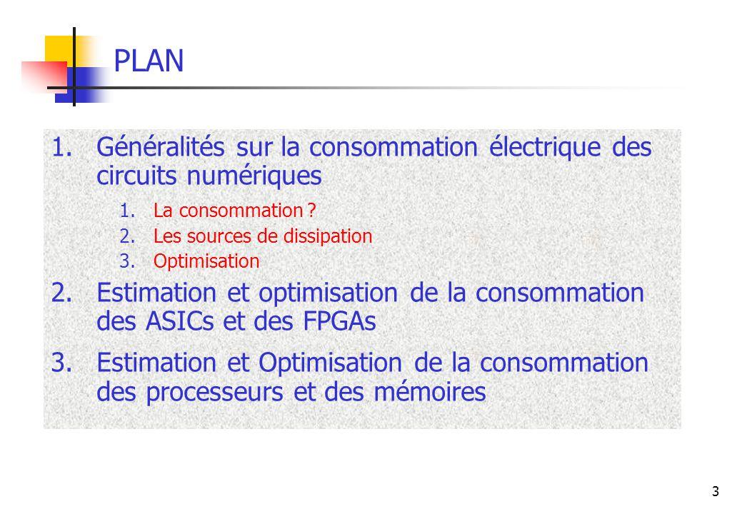 3 PLAN 1.Généralités sur la consommation électrique des circuits numériques 1.La consommation ? 2.Les sources de dissipation 3.Optimisation 2.Estimati