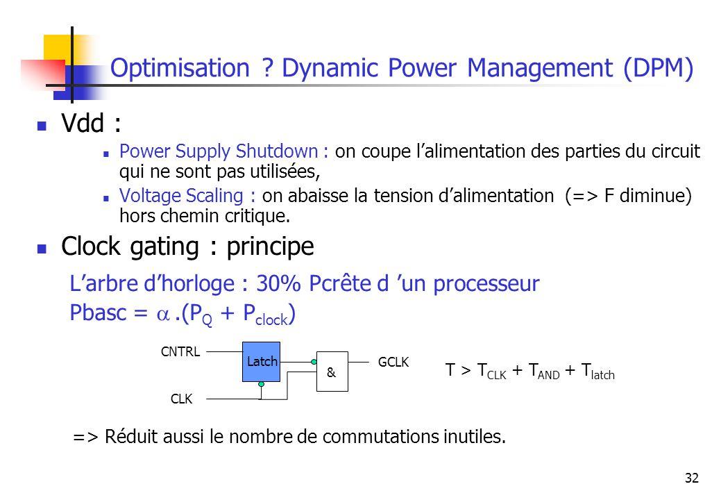 32 Optimisation ? Dynamic Power Management (DPM) Vdd : Power Supply Shutdown : on coupe lalimentation des parties du circuit qui ne sont pas utilisées