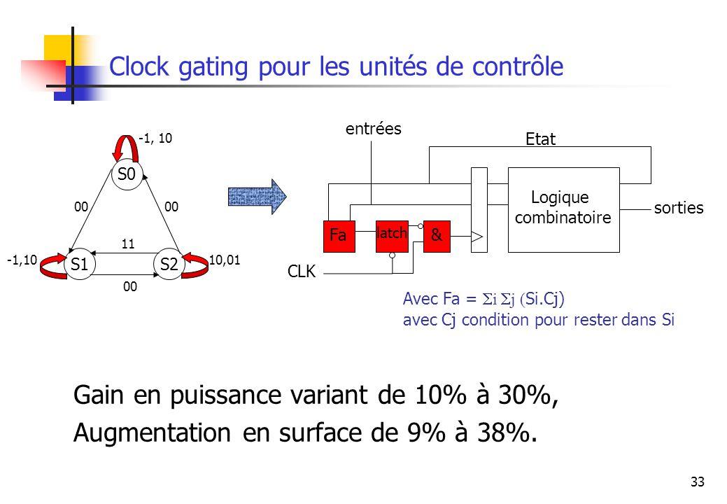 33 Clock gating pour les unités de contrôle Avec Fa = i j ( Si.Cj) avec Cj condition pour rester dans Si 10,01 S1 S0 S2 -1, 10 00 11 00 -1,10 Logique