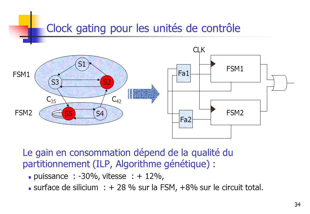 34 Clock gating pour les unités de contrôle S3 S1 S5 S2 S4 C 35 C 42 FSM1 FSM2 FSM1 FSM2 Fa1 Fa2 CLK Le gain en consommation dépend de la qualité du p