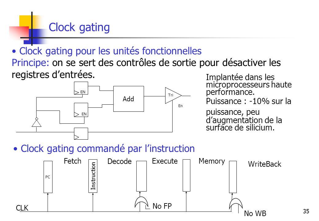 35 Clock gating Clock gating pour les unités fonctionnelles Principe: on se sert des contrôles de sortie pour désactiver les registres dentrées. Impla