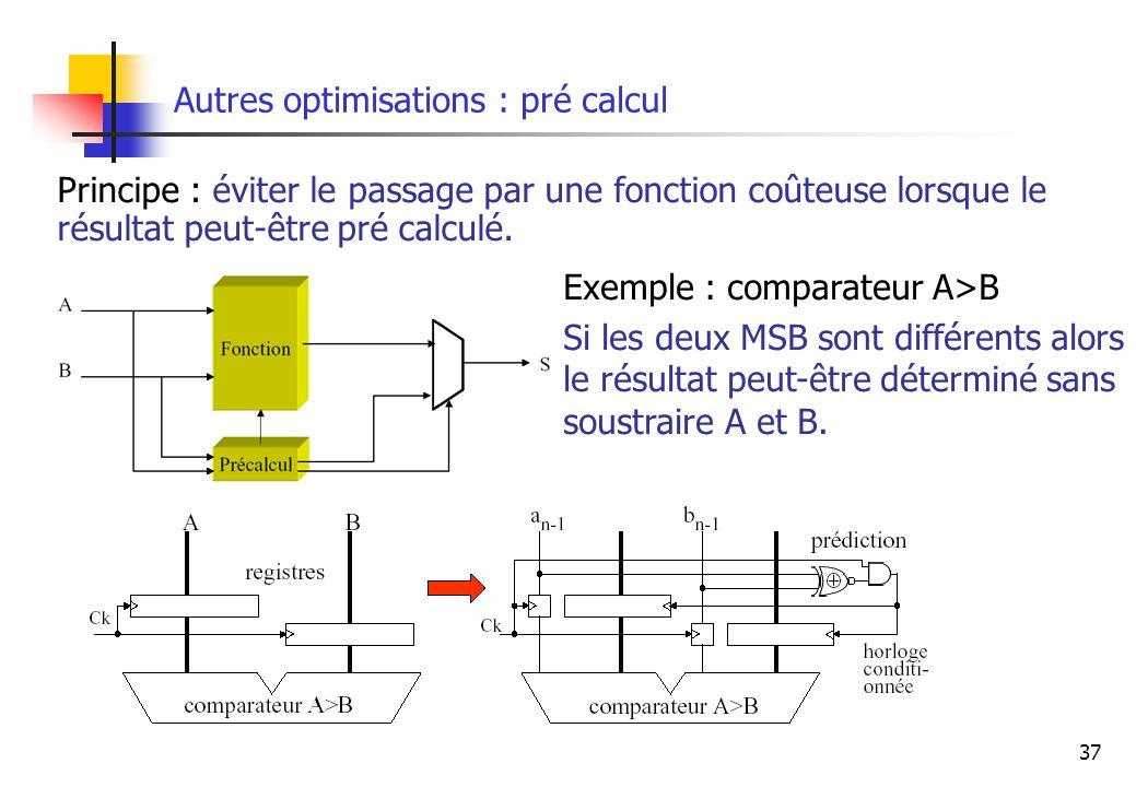 37 Autres optimisations : pré calcul Principe : éviter le passage par une fonction coûteuse lorsque le résultat peut-être pré calculé. Exemple : compa