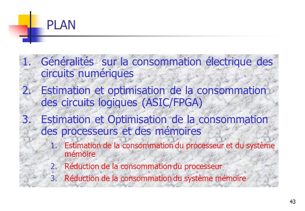 43 PLAN 1.Généralités sur la consommation électrique des circuits numériques 2.Estimation et optimisation de la consommation des circuits logiques (AS