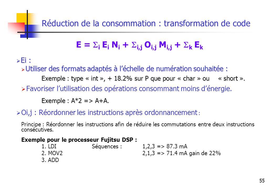 55 Réduction de la consommation : transformation de code E = i E i N i + i,j O i,j M i,j + k E k Ei : Ei : Utiliser des formats adaptés à léchelle de