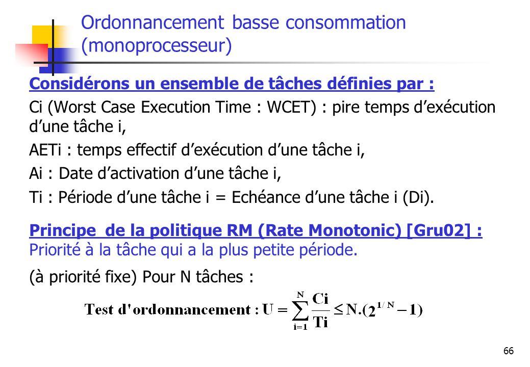 66 Considérons un ensemble de tâches définies par : Ci (Worst Case Execution Time : WCET) : pire temps dexécution dune tâche i, AETi : temps effectif
