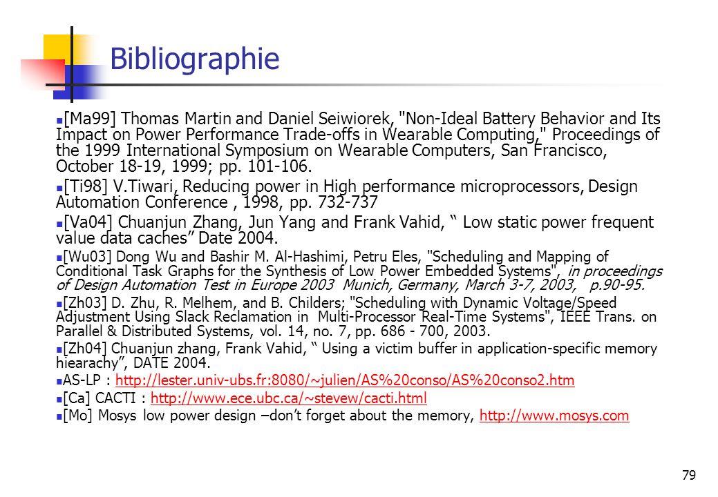 79 Bibliographie [Ma99] Thomas Martin and Daniel Seiwiorek,