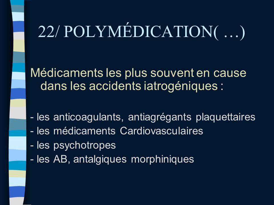 22/ POLYMÉDICATION( …) Médicaments les plus souvent en cause dans les accidents iatrogéniques : - les anticoagulants, antiagrégants plaquettaires - le