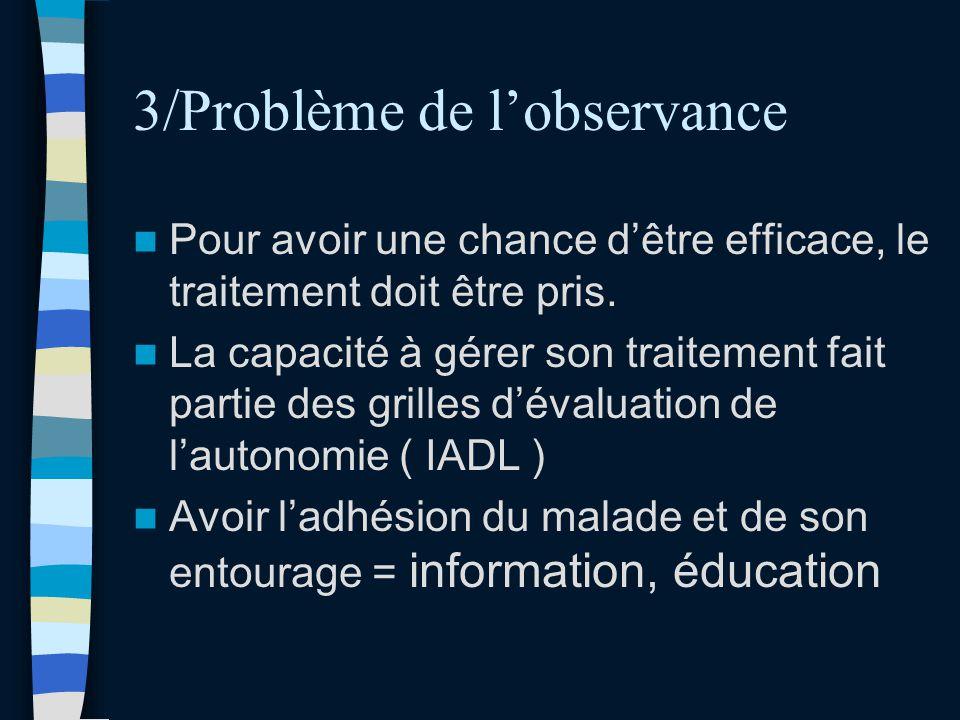 3/Problème de lobservance Pour avoir une chance dêtre efficace, le traitement doit être pris. La capacité à gérer son traitement fait partie des grill