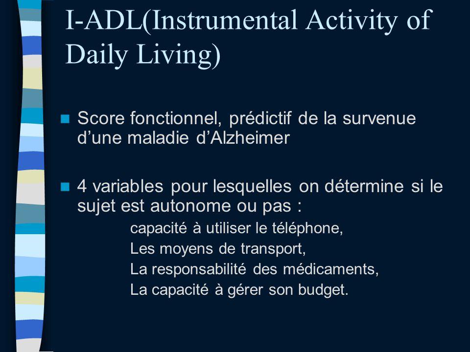 I-ADL(Instrumental Activity of Daily Living) Score fonctionnel, prédictif de la survenue dune maladie dAlzheimer 4 variables pour lesquelles on déterm