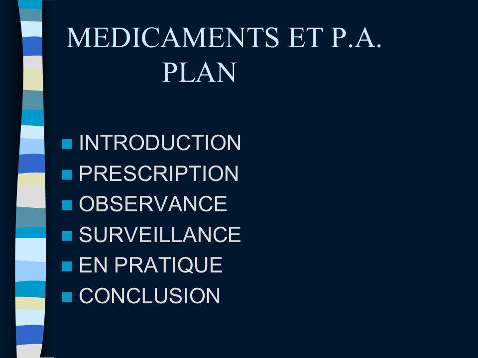 MEDICAMENTS ET P.A. PLAN INTRODUCTION PRESCRIPTION OBSERVANCE SURVEILLANCE EN PRATIQUE CONCLUSION