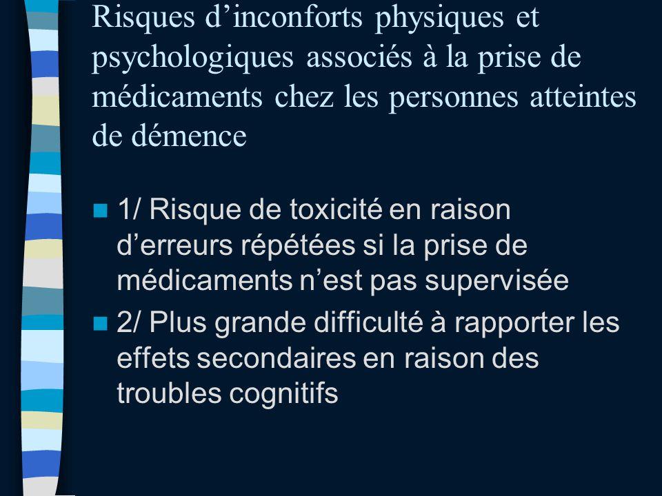 Risques dinconforts physiques et psychologiques associés à la prise de médicaments chez les personnes atteintes de démence 1/ Risque de toxicité en ra