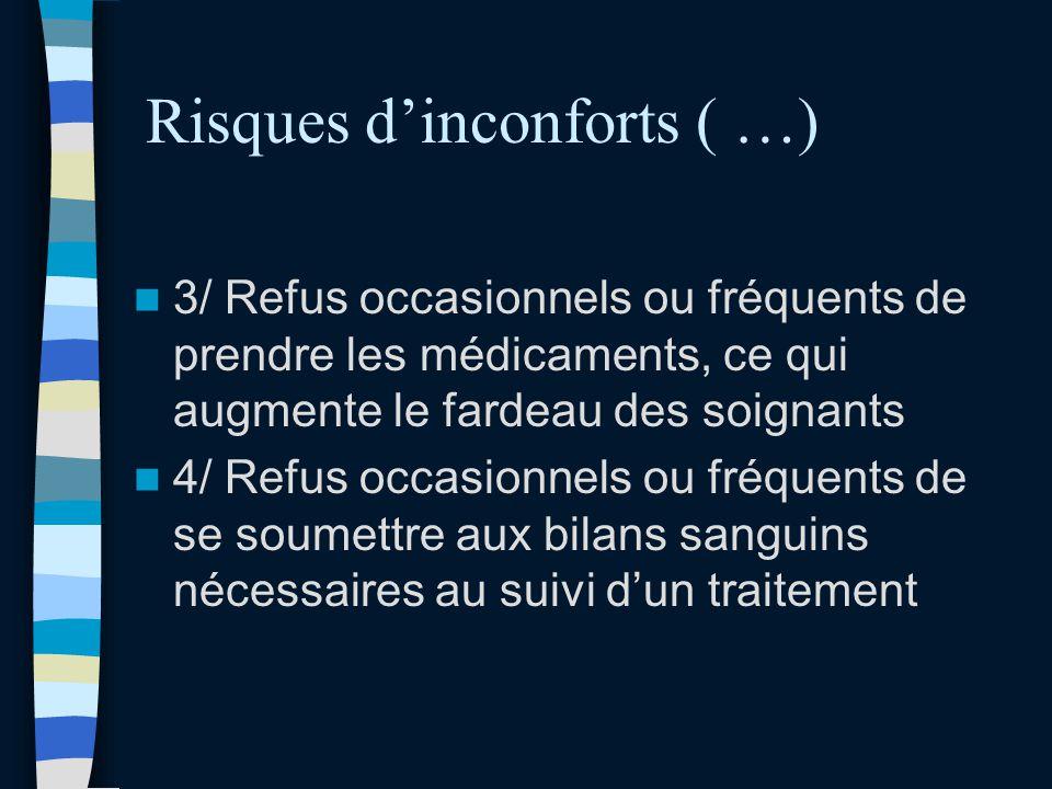 Risques dinconforts ( …) 3/ Refus occasionnels ou fréquents de prendre les médicaments, ce qui augmente le fardeau des soignants 4/ Refus occasionnels