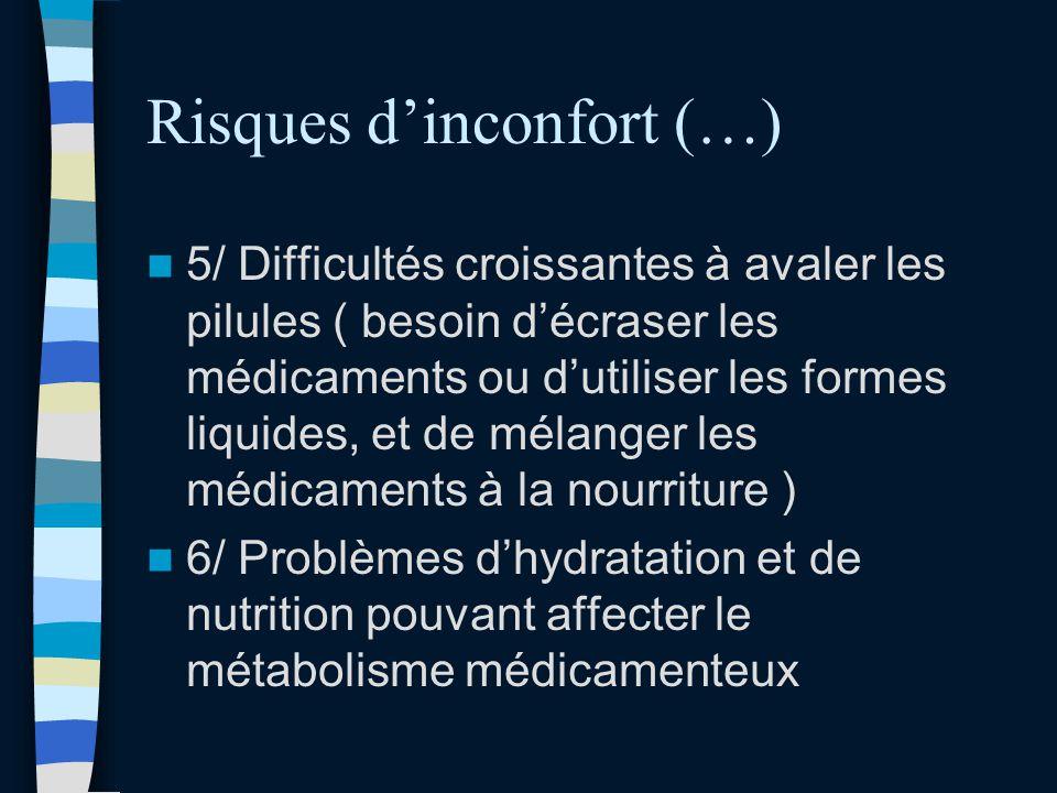 Risques dinconfort (…) 5/ Difficultés croissantes à avaler les pilules ( besoin décraser les médicaments ou dutiliser les formes liquides, et de mélan