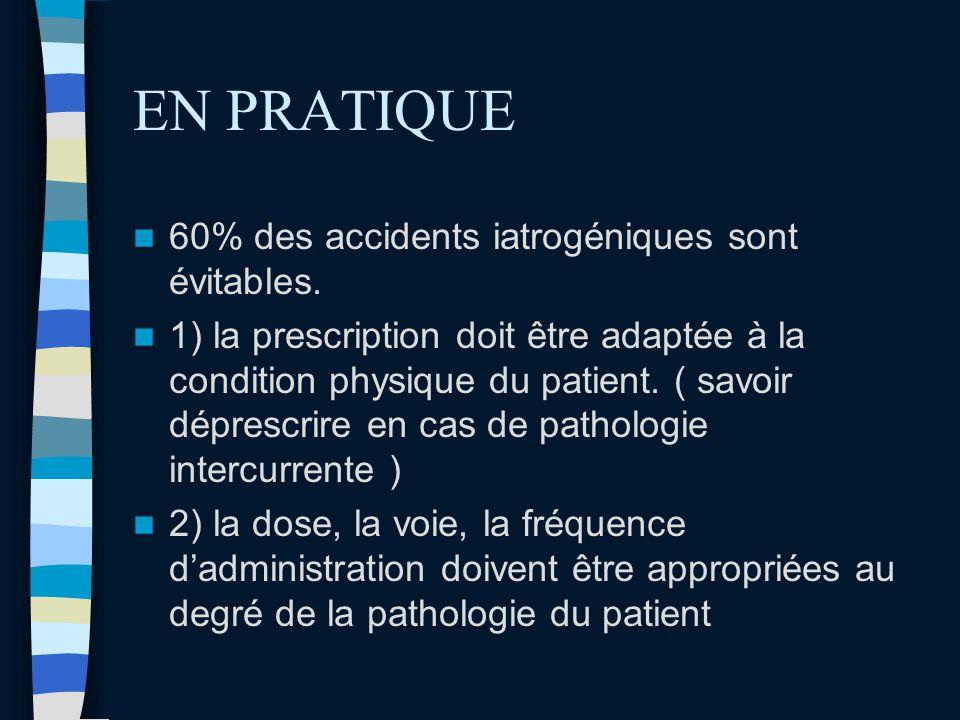 EN PRATIQUE 60% des accidents iatrogéniques sont évitables. 1) la prescription doit être adaptée à la condition physique du patient. ( savoir déprescr