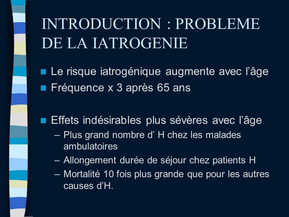 INTRODUCTION : PROBLEME DE LA IATROGENIE Le risque iatrogénique augmente avec lâge Fréquence x 3 après 65 ans Effets indésirables plus sévères avec lâ