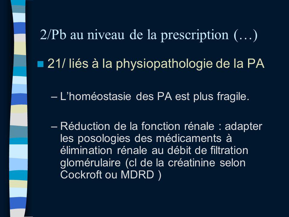 2/Pb au niveau de la prescription (…) 21/ liés à la physiopathologie de la PA –Lhoméostasie des PA est plus fragile. –Réduction de la fonction rénale