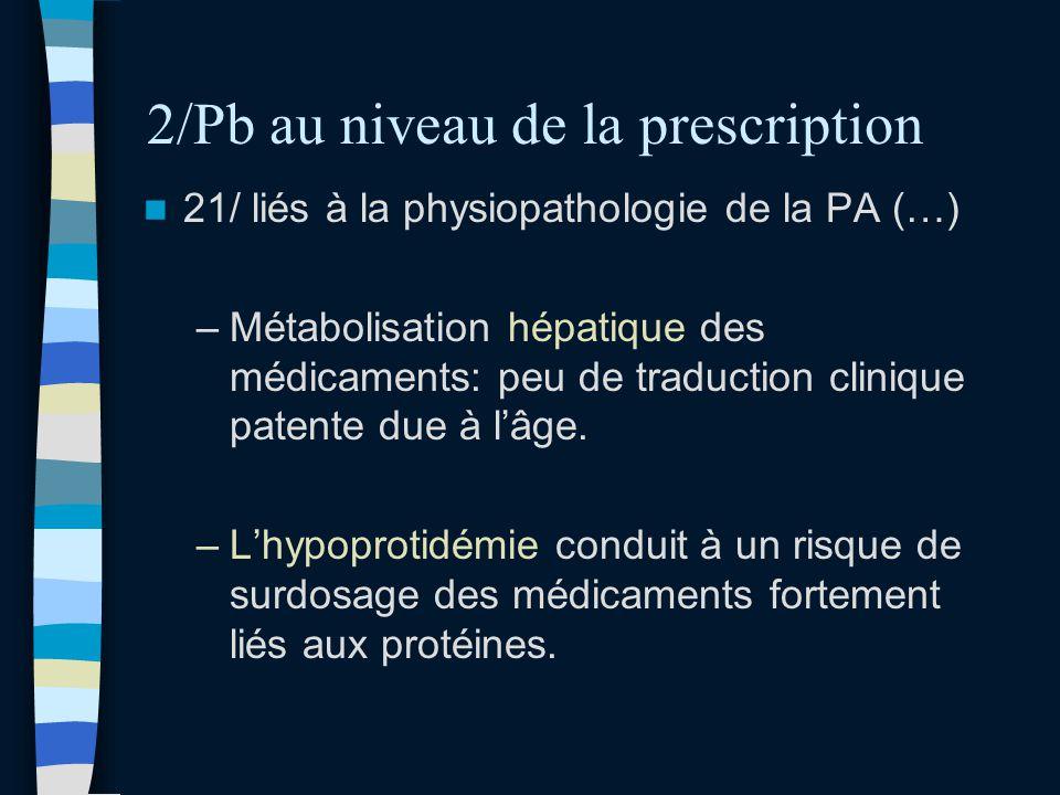 2/Pb au niveau de la prescription 21/ liés à la physiopathologie de la PA (…) –Métabolisation hépatique des médicaments: peu de traduction clinique pa