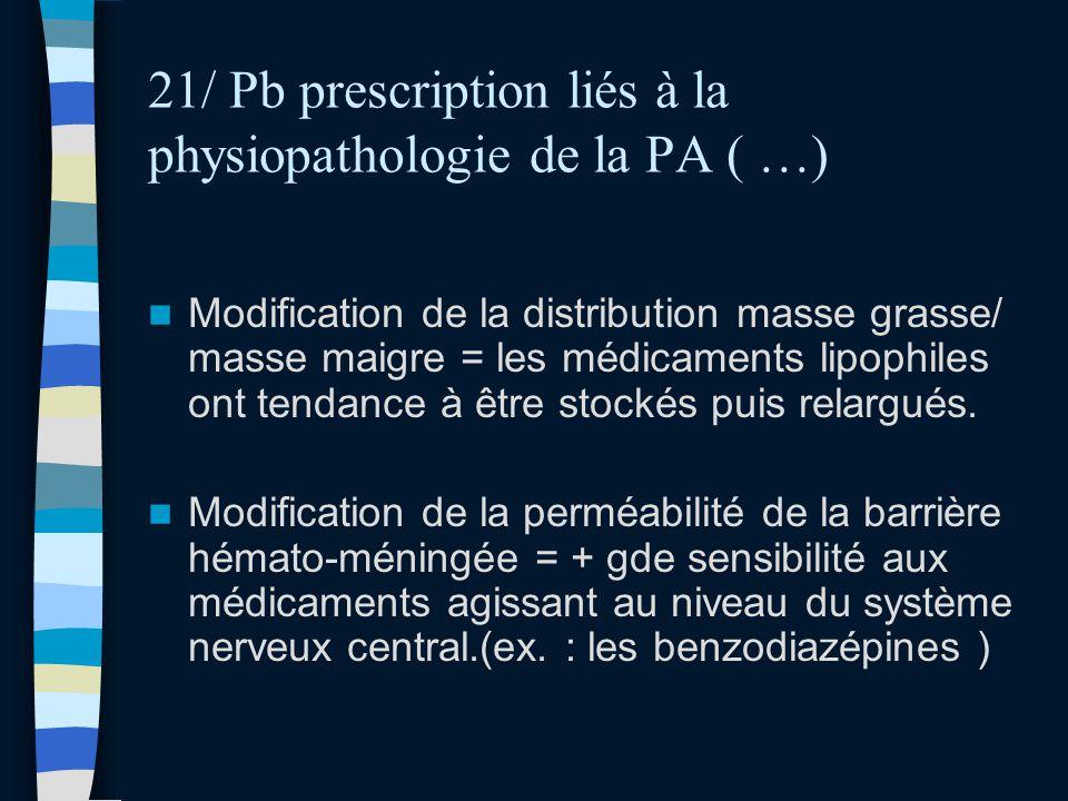 21/ Pb prescription liés à la physiopathologie de la PA ( …) Modification de la distribution masse grasse/ masse maigre = les médicaments lipophiles o