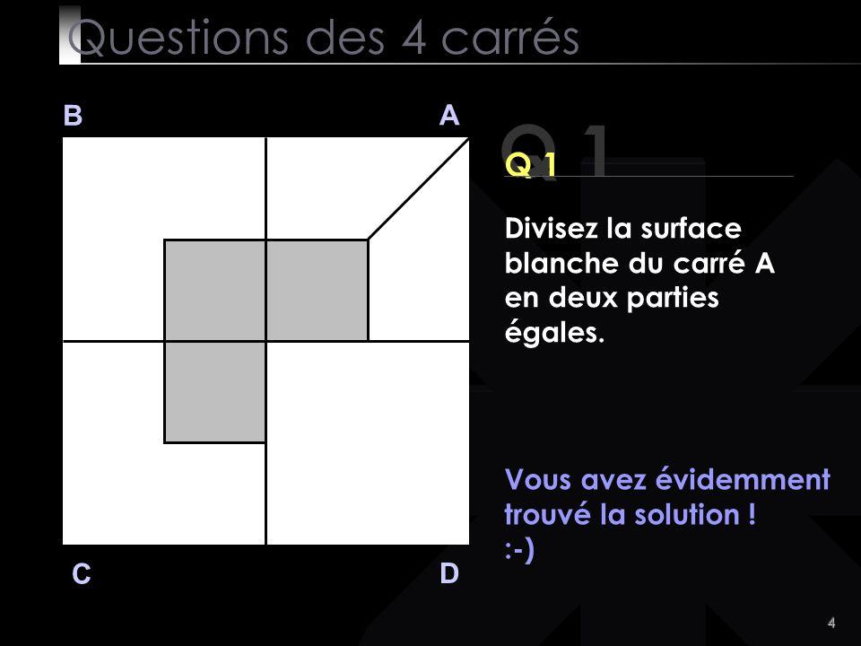 15 B A D C Prêts pour la dernière question ? Questions des 4 carrés