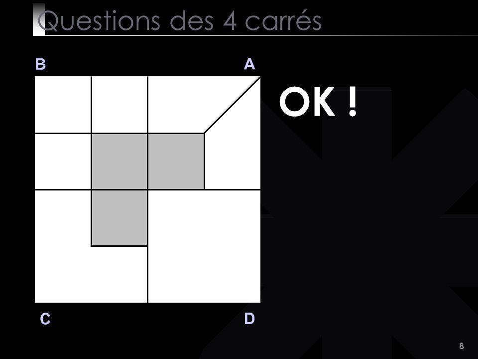 8 B A D C OK ! Questions des 4 carrés