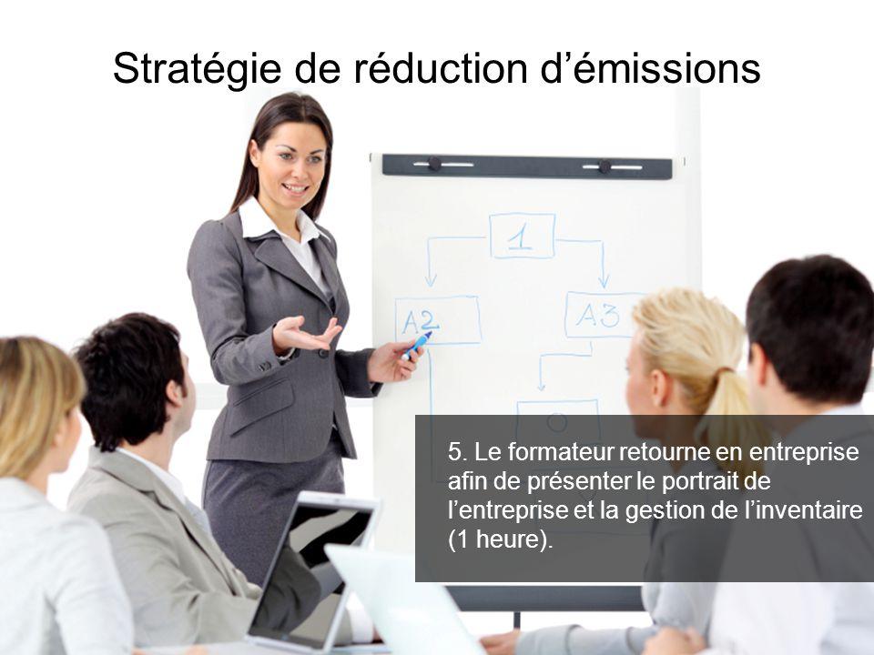 5. Le formateur retourne en entreprise afin de présenter le portrait de lentreprise et la gestion de linventaire (1 heure). Stratégie de réduction dém