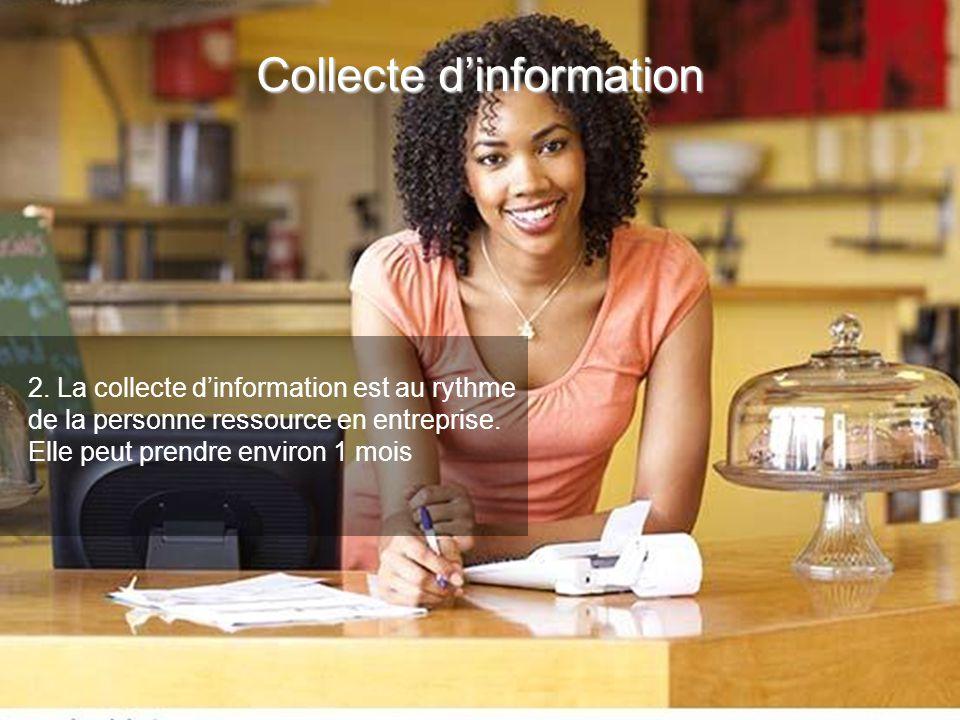 2. La collecte dinformation est au rythme de la personne ressource en entreprise. Elle peut prendre environ 1 mois Collecte dinformation
