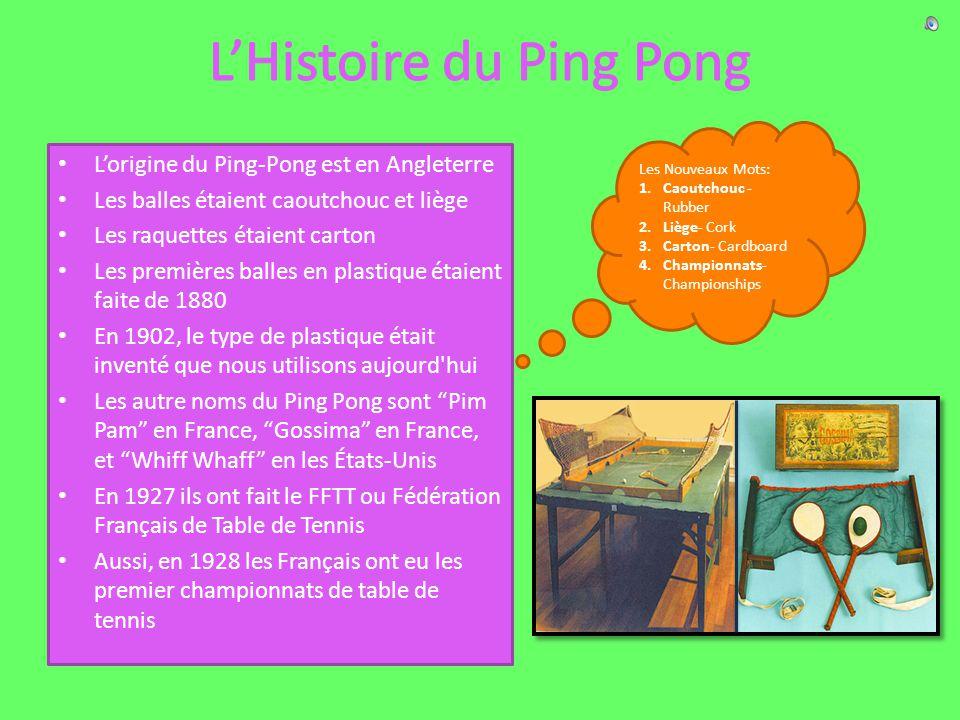 Lorigine du Ping-Pong est en Angleterre Les balles étaient caoutchouc et liège Les raquettes étaient carton Les premières balles en plastique étaient faite de 1880 En 1902, le type de plastique était inventé que nous utilisons aujourd hui Les autre noms du Ping Pong sont Pim Pam en France, Gossima en France, et Whiff Whaff en les États-Unis En 1927 ils ont fait le FFTT ou Fédération Français de Table de Tennis Aussi, en 1928 les Français ont eu les premier championnats de table de tennis Les Nouveaux Mots: 1.Caoutchouc - Rubber 2.Liège- Cork 3.Carton- Cardboard 4.Championnats- Championships