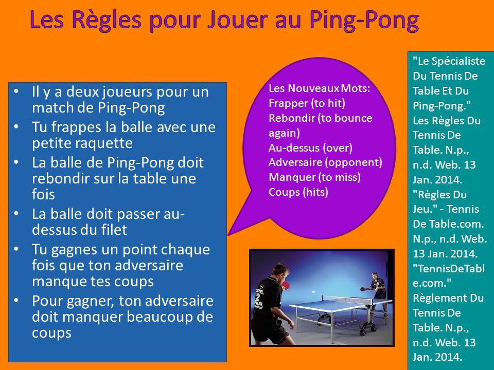 Lorigine du Ping-Pong est en Angleterre Les balles étaient caoutchouc et liège Les raquettes étaient carton Les premières balles en plastique étaient