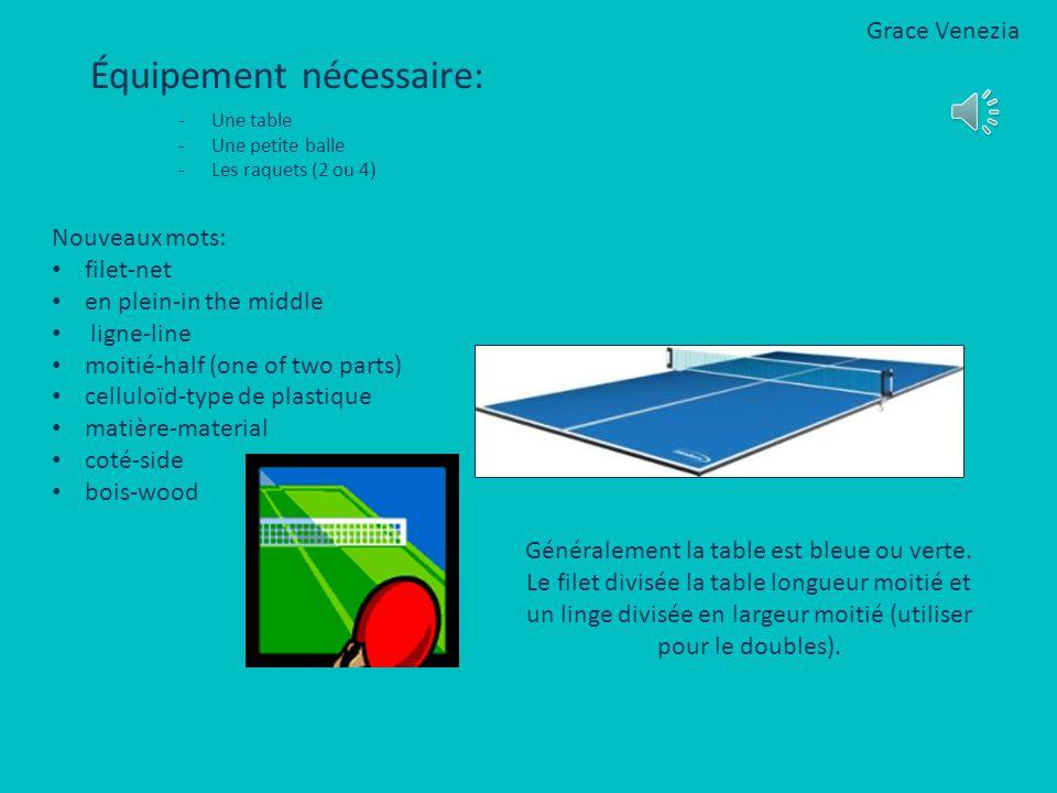 Équipement nécessaire: -Une table -Une petite balle -Les raquets (2 ou 4) Généralement la table est bleue ou verte.