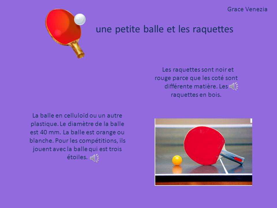 La balle en celluloïd ou un autre plastique.Le diamètre de la balle est 40 mm.