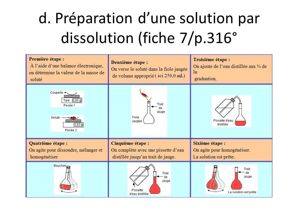 d. Préparation dune solution par dissolution (fiche 7/p.316°
