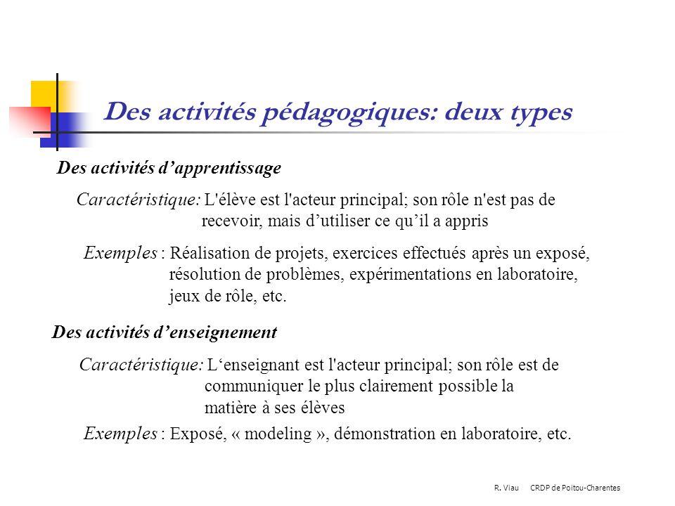 Des activités pédagogiques: deux types Caractéristique: L'élève est l'acteur principal; son rôle n'est pas de recevoir, mais dutiliser ce quil a appri